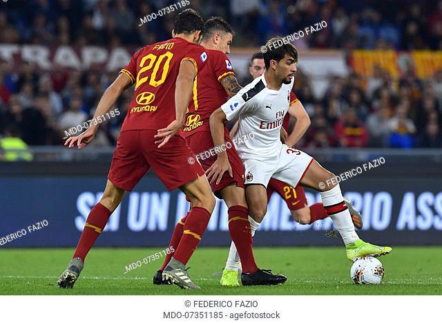 Roma football player Federico Fazio and Milan football player Lucas Paqueta during the match Roma-Milan in the Olimpic stadium