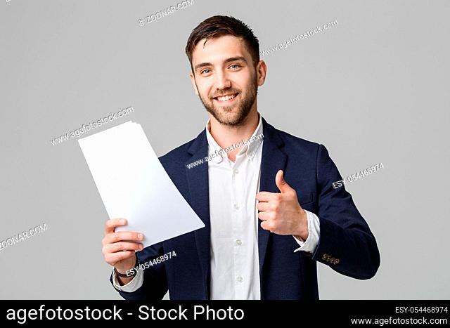 Business Concept - Portrait Handsome Business man holding white report with confident smiling face and thump up. White Background