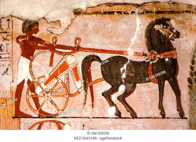 Egyptian Wallpainting from the Tomb of Nebanmun at Thebes, c1400 BC. Chariot and Attendant Artist: Unknown