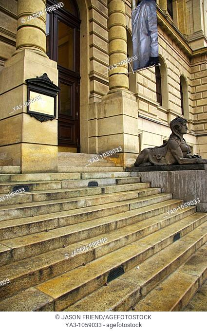 Czech Republic, Prague, Rudolfinum Concert Hall and Gallery  Statue and typical Prague architecture outside the Rudolfinum gallery