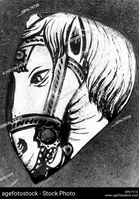 Head of a horse. Date: 16th century or later; Culture: French or Flemish; Medium: Colorless glass, silver stain, and vitreous paint; Dimensions: 3 x 4 1/16 x...