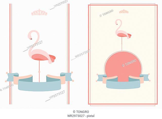 Invitation cards with flamingos