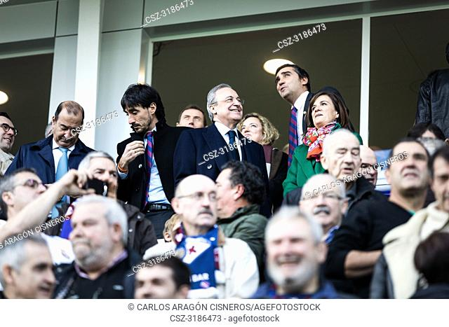 Florentino Perez, Real Madrid President, in the box during the La Liga match between Eibar and Real Madrid CF at Ipurua Stadium on November 24, 2018 in Eibar