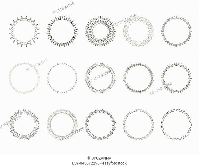 Set of round vintage decorative borders. Collection of black circle frames. Element for Graphic Design - Banner, Poster, Flyer, Brochure, Card