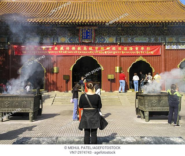 Incense sticks burning Inside the grounds of the Yonghe Gong temple - Beijing, China. Also known as the 'Lama temple' as it is a centre for buddhist followers...