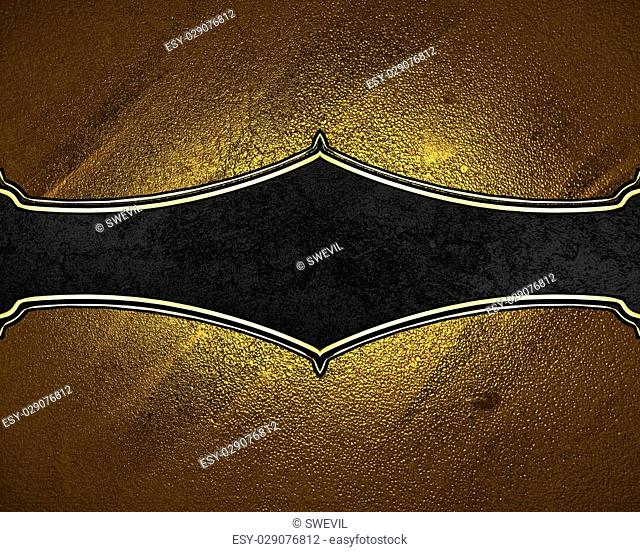 Texture of gold with black plate. Element for design. Template for design. copy space for ad brochure or announcement invitation, abstract background