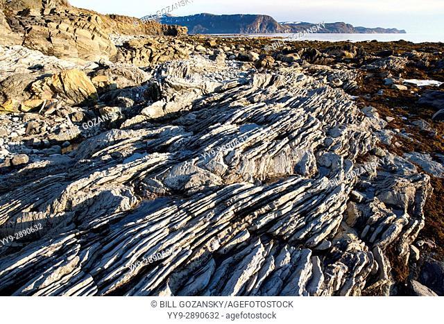 Rocky beach landscape in Gros Morne National Park, near Rocky Harbour, Newfoundland, Canada