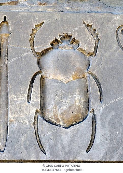 Karnak, Luxor, Egypt.Temple of Karnak sacred to god Amon: a beautiful carved scarab