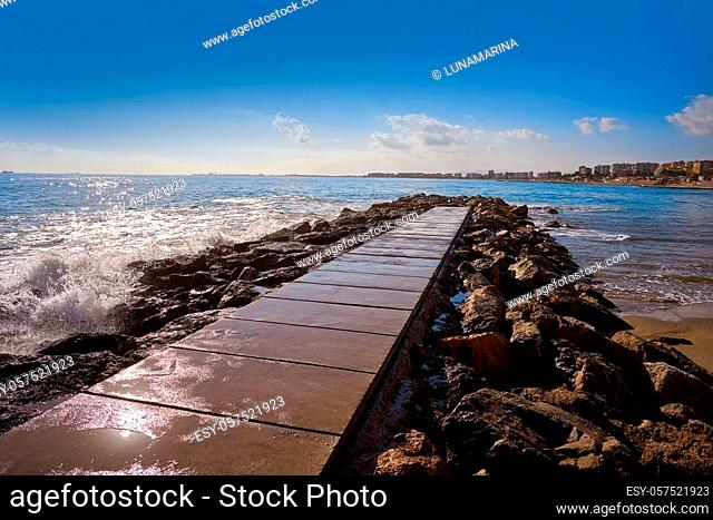 Benicassim breakwater in Castellon of Spain also Benicasim