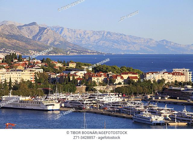 Croatia, Split, harbor, port, aerial view