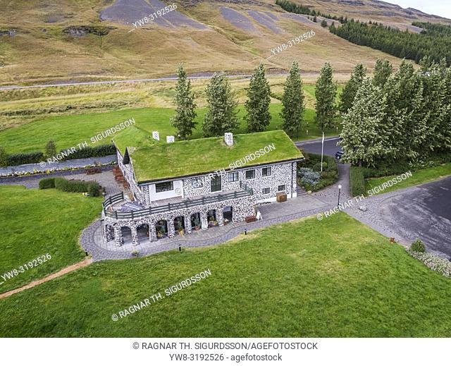 Skriduklaustur Museum, Eastern Iceland. This image is shot using a drone