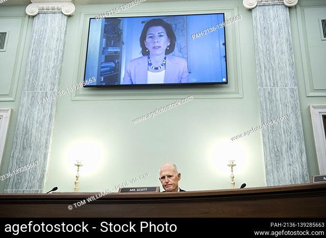 United States Senator Rick Scott (Republican of Florida), questions Gina Raimondo, nominee for Secretary of Commerce, during her Senate Commerce, Science