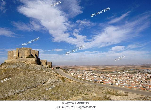 Castle, Calderico hill, Consuegra, province Toledo, Castile-La Mancha, Spain, Caballeros de San Juan de Jerusalen