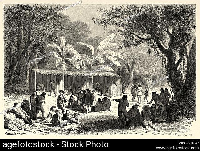 Huatinmio, village of Indian Siriniris, Peru. South America. Trip to the Valley of the Quinas by Paul Marcoy. Old engraving El Mundo en la Mano 1878