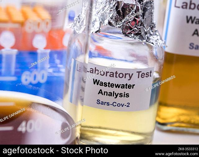Wastewater samples, analysis of sars-cov-2 virus in patients infected by human coronavirus 229E, conceptual image