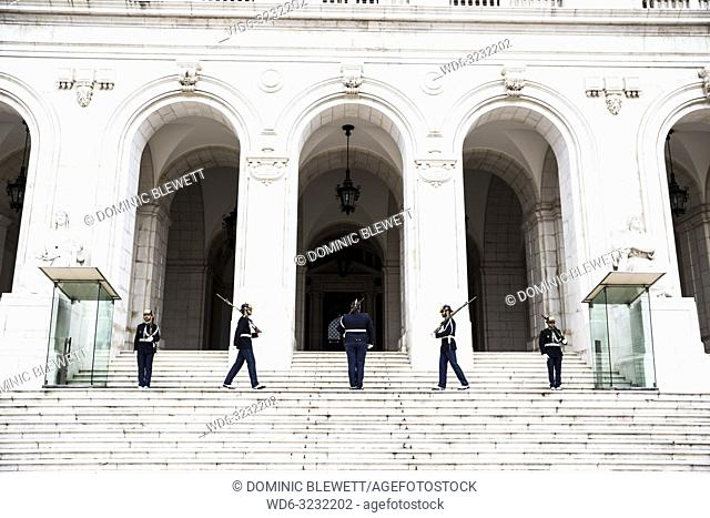Changing of the guards at the Palacio de Sao Bento in Lisbon, Portugal