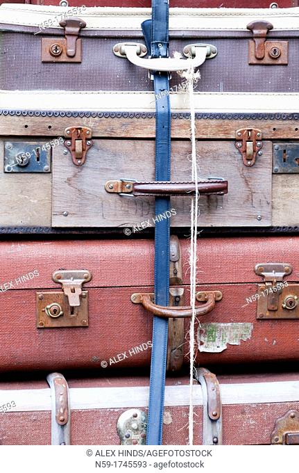 Old suitcases at Watchet Station, West Somerset Railway  UK