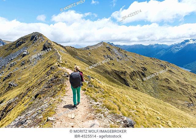 Female hiker on Kepler Track, Fiordland National Park, Southland, New Zealand
