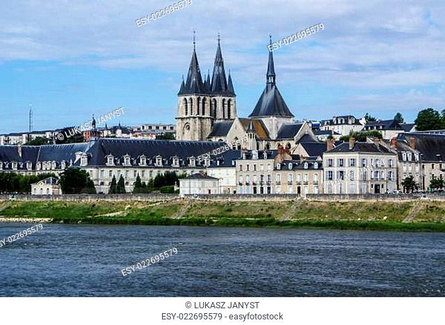 Old bridge over the Loire in Blois, France. Cathedral of Blois in the background