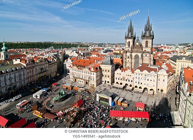 View from the Town Hall over the Easter market on the Old Town Square, Old Town, UNESCO World Heritage Site, Prague, Bohemia, Czech Republic