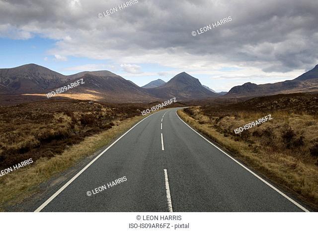 Road leading through Cuillin mountains, Sligachan, Isle of Skye, Scotland