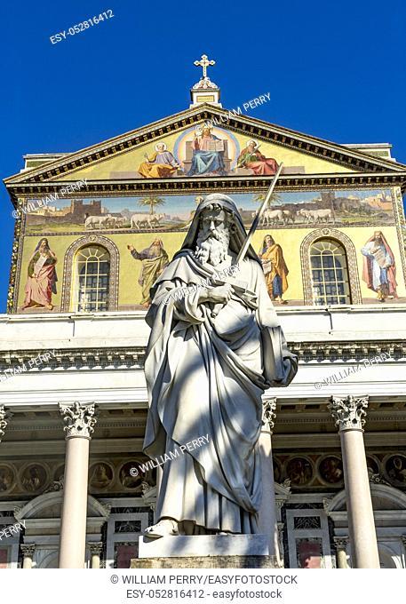 Saint Paul Statue Facade Papal Basilica Saint Paul Beyond Walls Cathedral Church Rome Italy. One of 4 Papal basilicas, established over Saint Paul's burial...