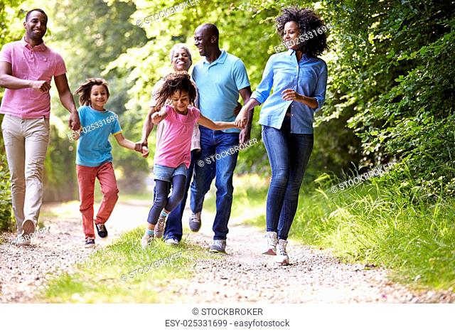 Multi Generation African American Family On Country Walk