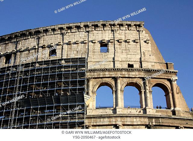 Rome, Italy. 23rd September 2013. Scaffolding erected around the Colosseum as a 25 million euro restoration project starts