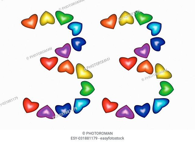 Number 33 of colorful hearts on white. Symbol for happy birthday, event, invitation, greeting card, award, ceremony. Holiday anniversary sign