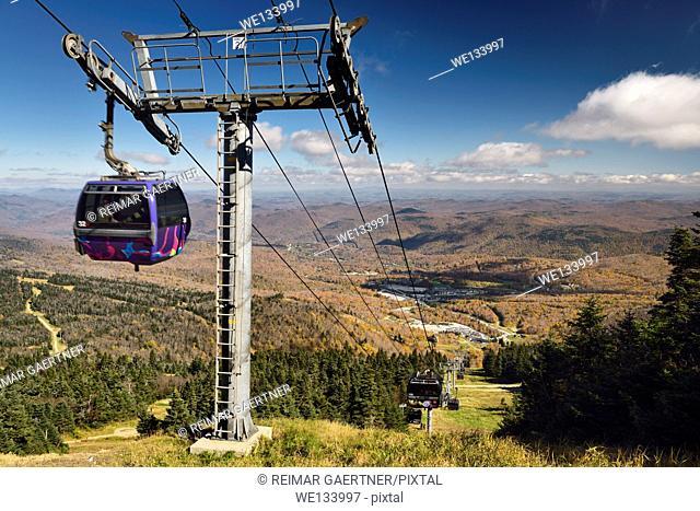 Express Gondola at Killington Mountain Resort in Fall with K1 lodge parking lot