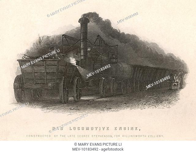 George Stephenson's locomotive designed to carry coal at Killingworth Colliery, near Newcastle-on-Tyne. It was the precursor of the Rocket and other engines