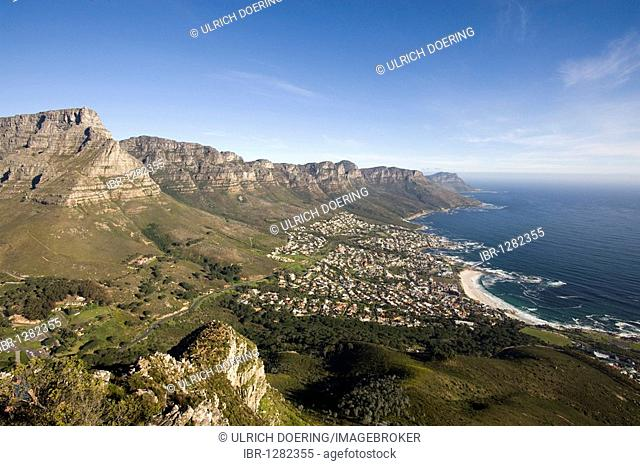View from Lion's Head on Camps Bay and Seven Apostle, Cape Town, South Africa