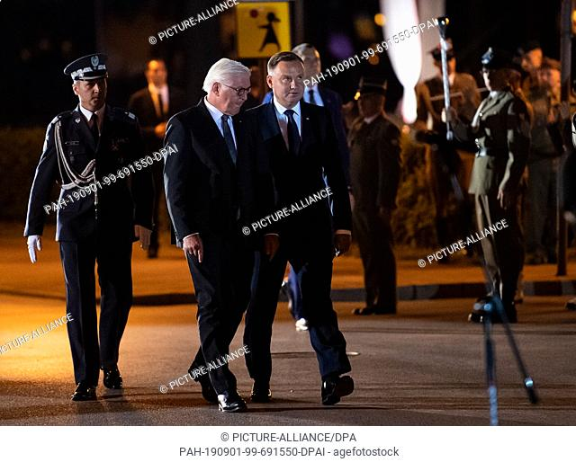 01 September 2019, Poland, Wielun: Federal President Frank-Walter Steinmeier (2nd from left) and Polish President Andrzej Duda (2nd from right) take part in a...