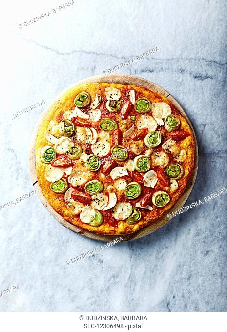 Leek and garlic pizza with cherry tomatoes and mozzarella
