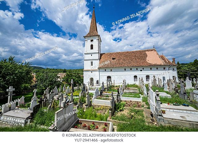 Holy Trinity Church and cemetery in small village of Sibiel famous from traditional Saxon architecture in Saliste commune, Transylvania in Romania