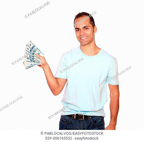 Portrait of a hispanic man showing you cash money against white background