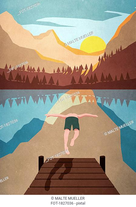 Man jumping off dock into tranquil mountain lake
