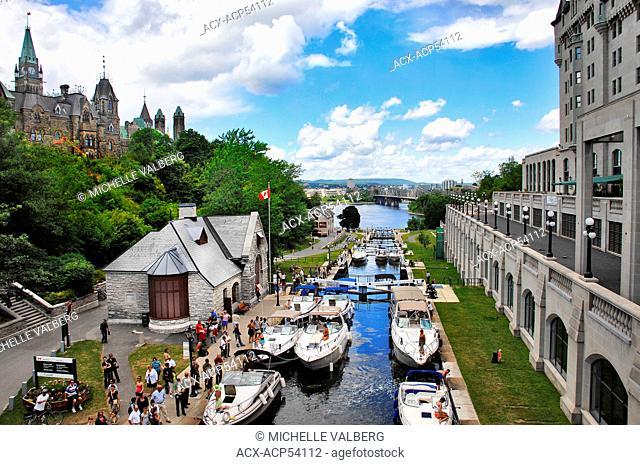 Boats moored at Rideau Canal Ottawa, Ontario, Canada