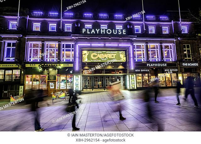 Night view of exterior of Playhouse Theatre in Edinburgh, Scotland, United Kingdom