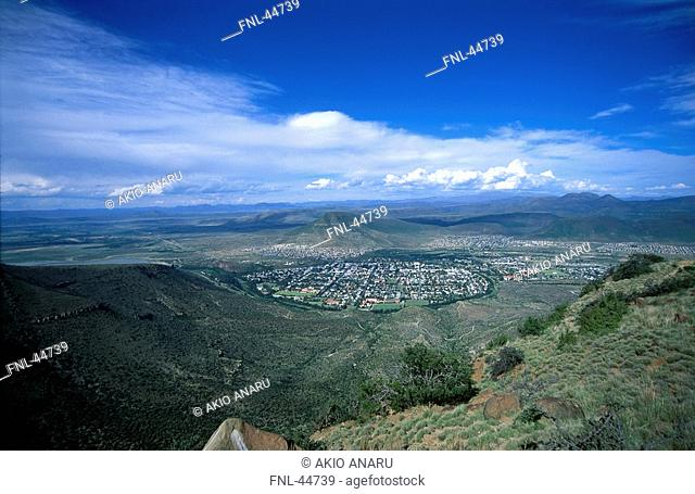 High angle view of town in valley, Graaff-Reinet, Eastern Cape, South Africa