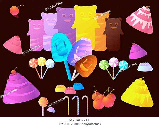 Sweet Candy and Elements Set Vector Collection