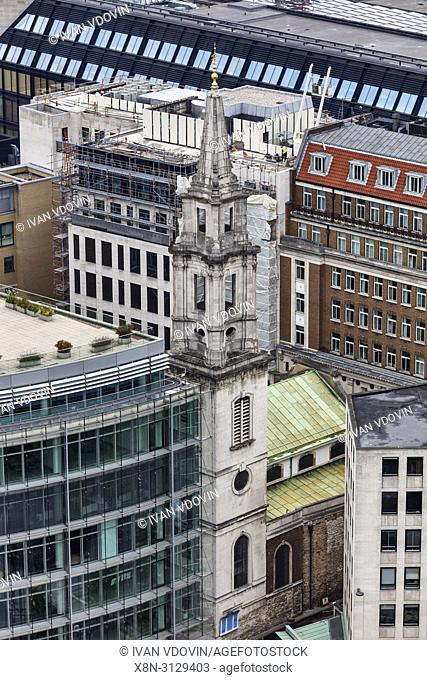 St Vedast alias Foster church, Cityscape from the gallery of St Paul's Cathedral, London, England, UK