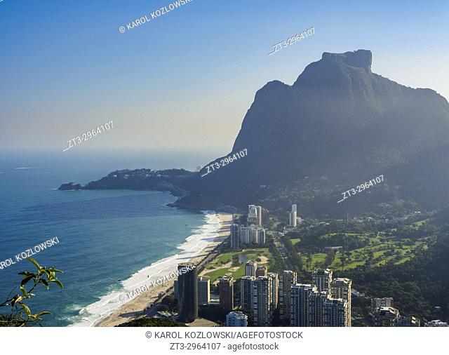 Sao Conrado and Gavea Rock, elevated view, Rio de Janeiro, Brazil