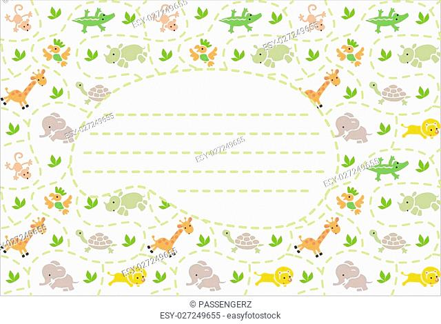 Card with seamless pattern of funny running african animals in savannah and place for text. Children vector illustration