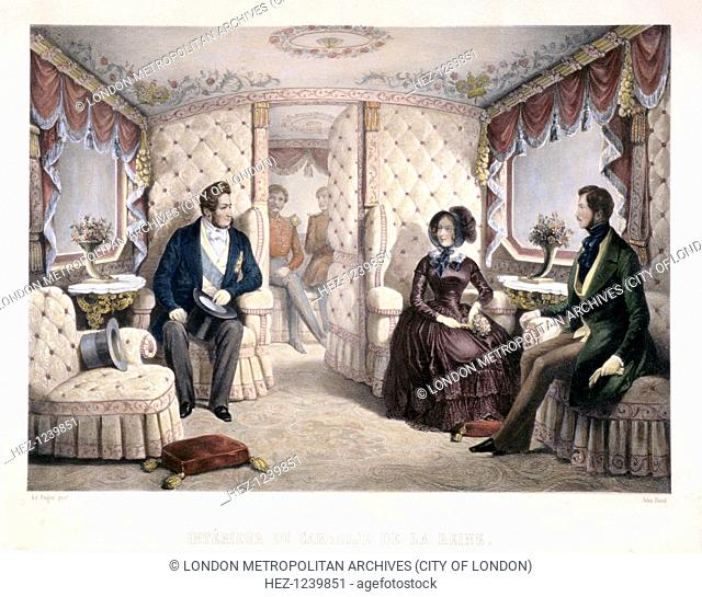 King Louis-Philippe, Queen Victoria and Prince Albert in the royal carriage, 1846. Interior view of Queen Victoria's railway carriage