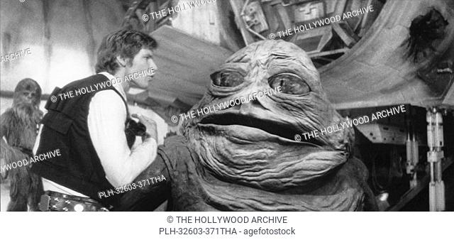 Harrison Ford and Jabba the Hutt in Star Wars Episode IV: A New Hope, 1977