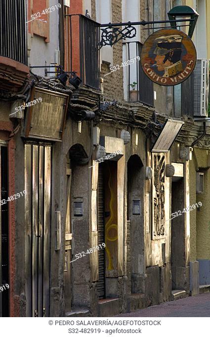 El Temple street, where the night bars are, historic center. Zaragoza. Aragon. Spain