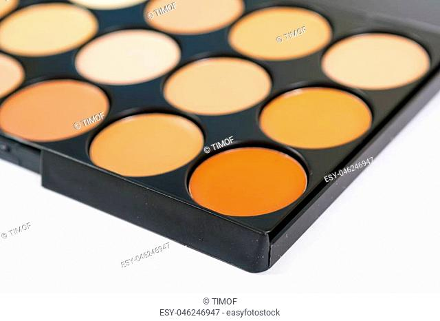 Concealers closeup.Set of decorative cosmetics for makeup, for contouring the face