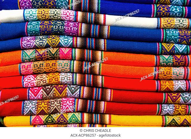Peruvian blankets, Miraflores suburb, Lima, Peru
