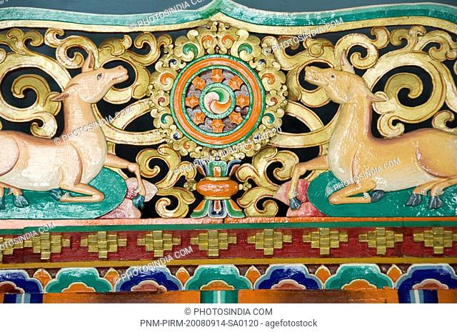 Mural on a wall, Thiksey Monastery, Ladakh, Jammu and Kashmir, India